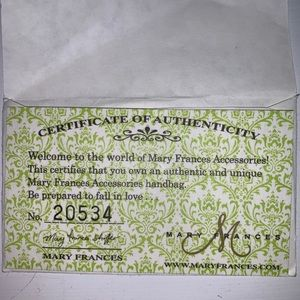 Mary Frances Bags - Authentic Mary Frances Handbag w Certificate